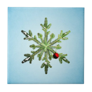 Beautiful Snowy Pine Snowflake Christmas Tile