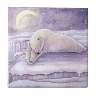 Beautiful Snuggly Sleeping Polar Bear Artwork Tile