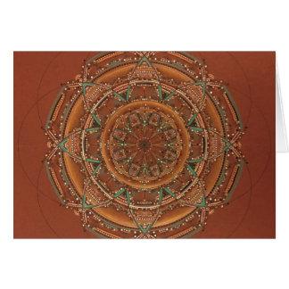 Beautiful southwest fractal mandala brown and teal card