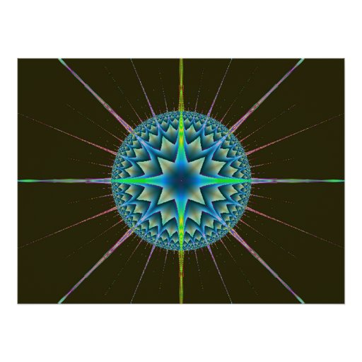 Beautiful Spherical Fractal Design Poster