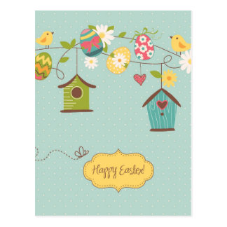 Beautiful Spring Background with Bird Houses Postcard