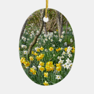 Beautiful spring daffodil garden ceramic ornament