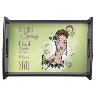 Beautiful Spring Fashion Illustration Kitchen Serving Tray