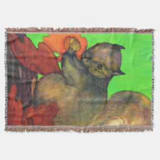 beautiful squirrel print throw blanket