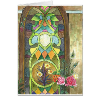 beautiful stain glass panel to congratulate weddin greeting card