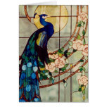 Beautiful Stained Glass Peacock Greeting Card