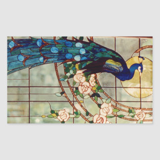 Beautiful Stained Glass Peacock Rectangular Sticker