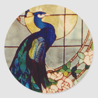 Beautiful Stained Glass Peacock Round Sticker