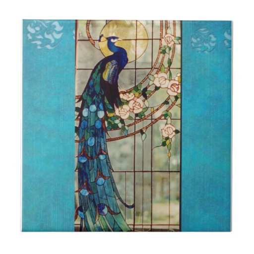 Beautiful Stained Glass Peacock Tile