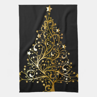 Beautiful starry metallic gold Christmas tree Tea Towel