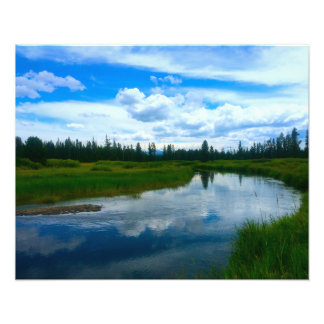 Beautiful Stream In Yellowstone National Park Photographic Print