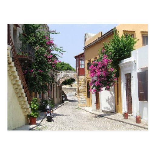 Beautiful Street in Rhodes Old Town Post Cards