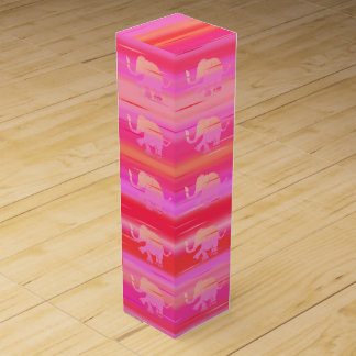 Beautiful Stripes with Pink Baby Elephants Pattern Wine Box