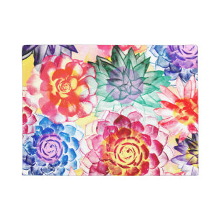 Beautiful Succulent Plants Artsy Watercolor Doormat