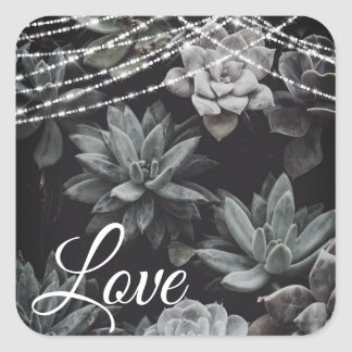 Beautiful Succulents and Enchanting Lights Love Square Sticker