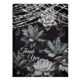 Beautiful Succulents Enchanting Lights Thank You Postcard