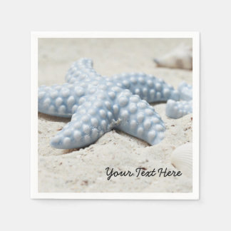 Beautiful summer beach sea star shell and sand disposable serviette