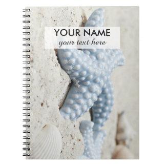 Beautiful summer beach sea star shell and sand notebook