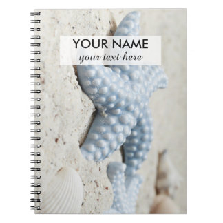 Beautiful summer beach sea star shell and sand spiral notebook
