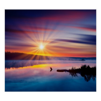 Beautiful summer sunset in the lake poster