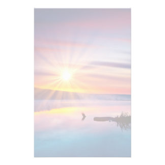 Beautiful summer sunset in the lake stationery