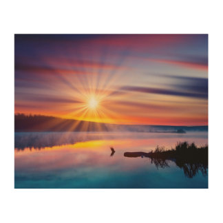 Beautiful summer sunset in the lake wood canvas
