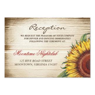 beautiful sunflower and wood wedding reception card