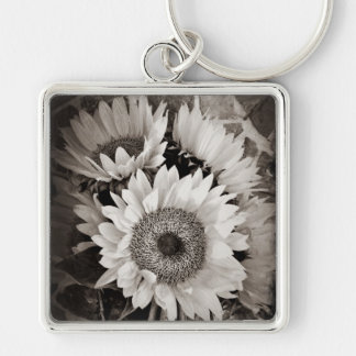 Beautiful Sunflower Bouquet Photo in Black & White Silver-Colored Square Key Ring