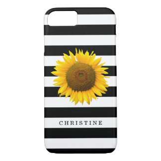 Beautiful Sunflower Elegant Black White Stripes iPhone 7 Case