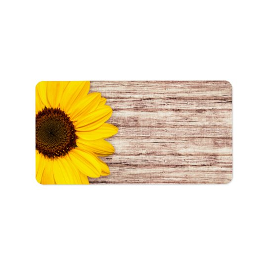 Beautiful sunflower on rustic barn wood blank label