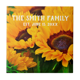 Beautiful Sunflower Painting Family Name Date Est. Tile
