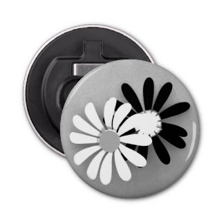 Beautiful Sunflower Portrait in Black and White Bottle Opener