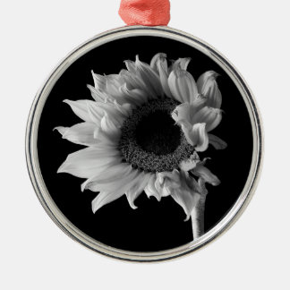 Beautiful Sunflower Portrait in Black and White Silver-Colored Round Decoration