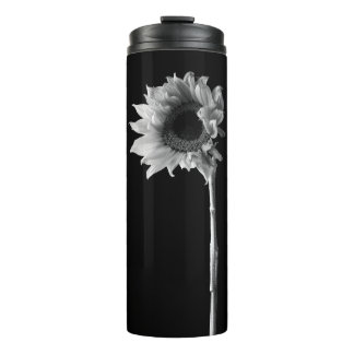 Beautiful Sunflower Portrait in Black and White Thermal Tumbler
