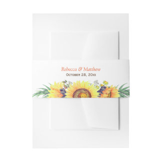 Beautiful Sunflowers Decor Rustic Chic Wedding Invitation Belly Band