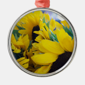 Beautiful Sunflowers Silver-Colored Round Decoration
