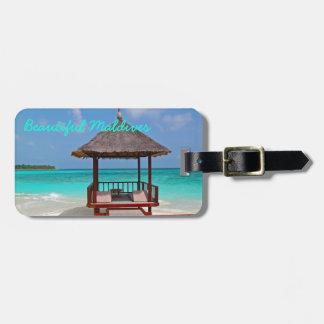 Beautiful, sunny Maldives Island beach and ocean Luggage Tag