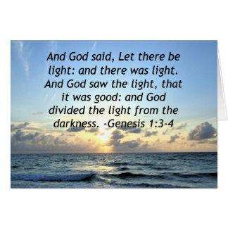 BEAUTIFUL SUNRISE GENESIS 1:3 SCRIPTURE PHOTO CARD