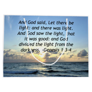 BEAUTIFUL SUNRISE GENESIS 1:3 SCRIPTURE PHOTO LARGE GIFT BAG