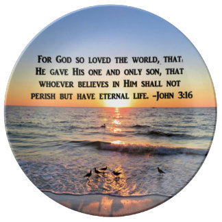 BEAUTIFUL SUNRISE JOHN 3:16 PORCELAIN PLATE