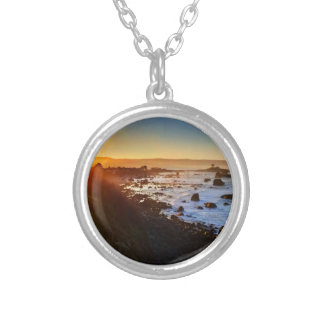 Beautiful Sunrise Over the Cliffs of Crescent City Silver Plated Necklace