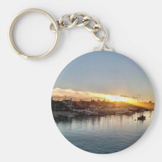 Beautiful Sunset at the Harbor in Balboa Island Key Ring