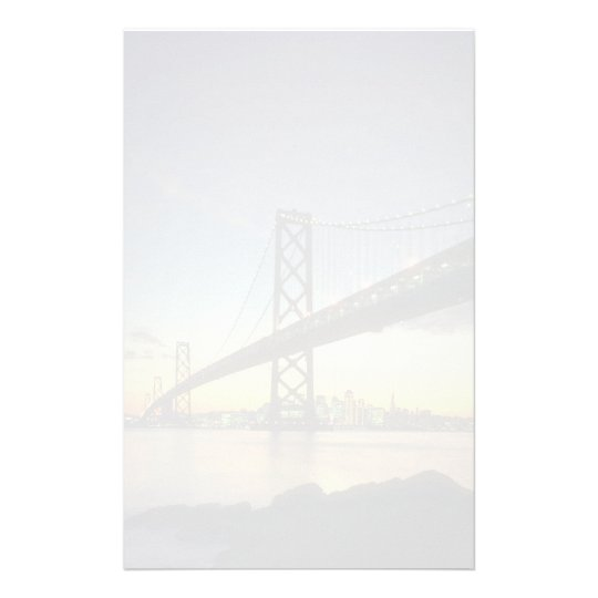 Beautiful Sunset: Bay Bridge, San Francisco, Calif Stationery