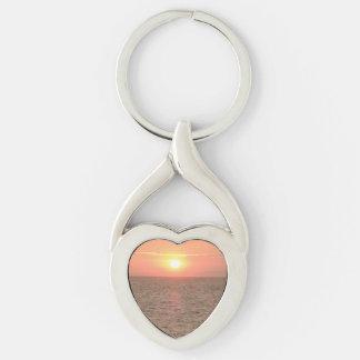 Beautiful Sunset Heart Keychain