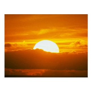 Beautiful Sunset: Moorea, outer reef pass, Tahiti Postcard