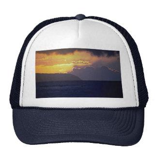 Beautiful Sunset: North Shore, Oahu, Hawaii Hats