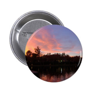 Beautiful Sunset Over Lake Pinback Buttons