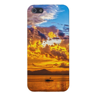 Beautiful Sunset over Lake with Boat iPhone 5/5S Covers