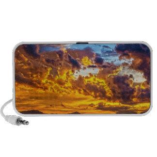 Beautiful Sunset over Lake with Boat Mini Speaker