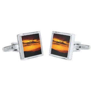 Beautiful sunset photo silver finish cuff links
